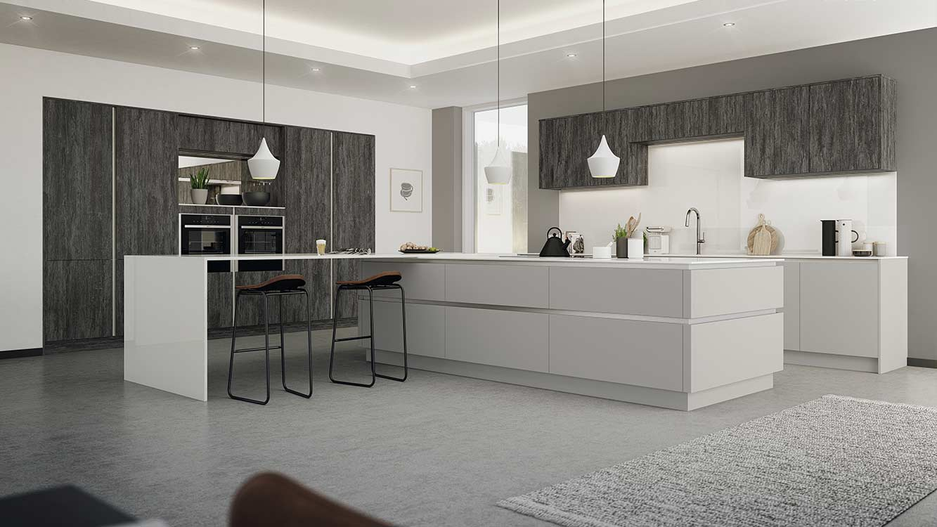 Masterclass Kitchens Blackburn H Line Deco Twilight with Sutton Dust Grey