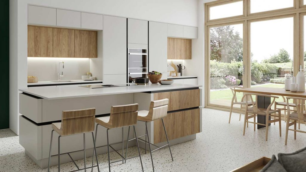 Masterclass Kitchens Blackburn SUTTON H LINE MAIN SCOTS GREY PORTLAND OAK  CHALKWOOD