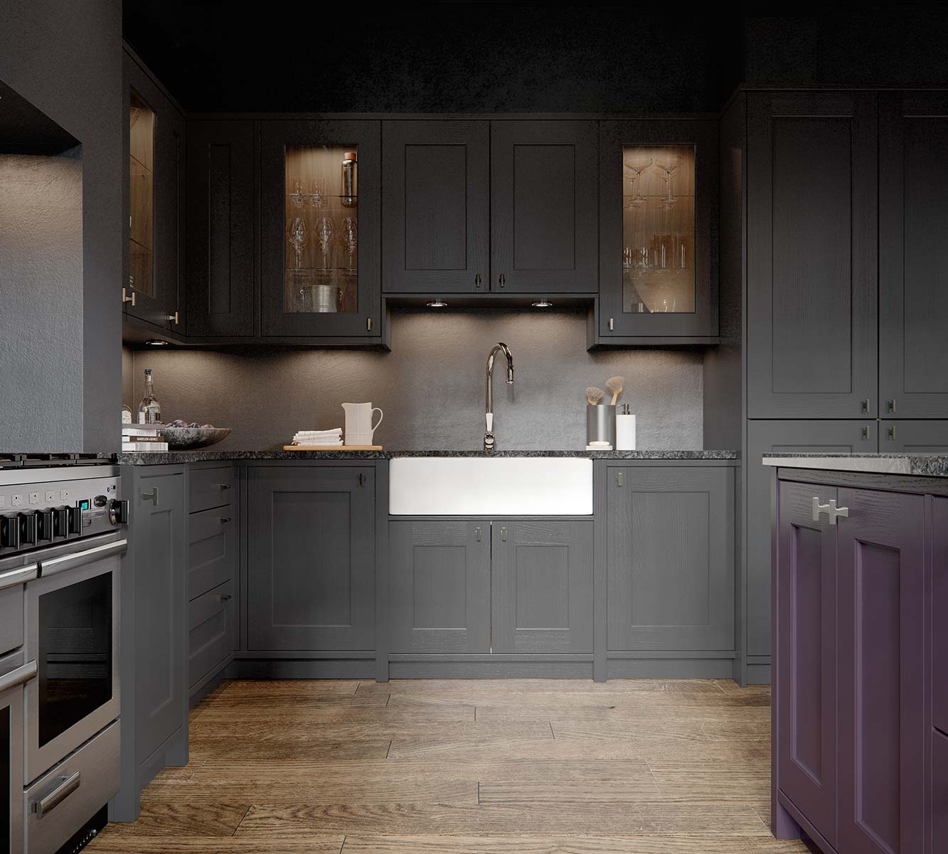 Masterclass kitchens Blackburn ASHBOURNE CAMEO 01 MULBERRY GRAPHITE