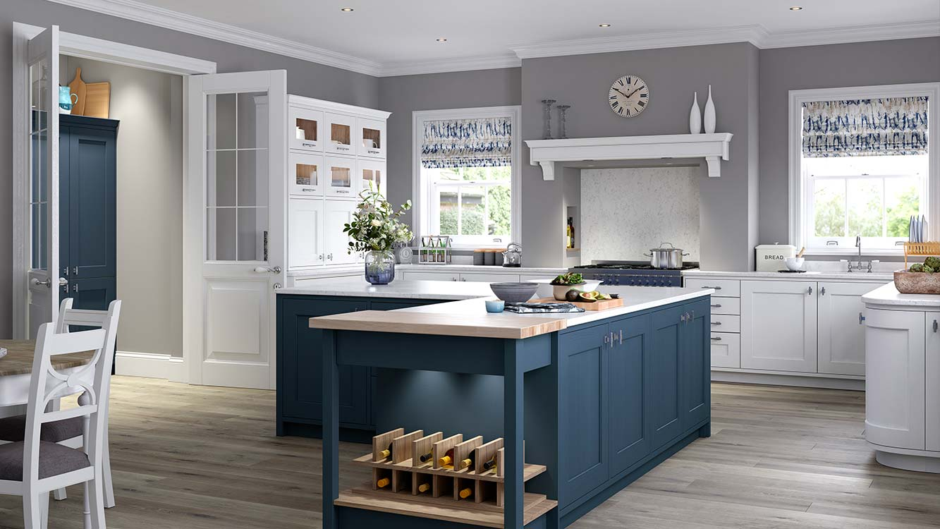 Masterclass kitchens Blackburn Ashbourne Windsor Blue with White