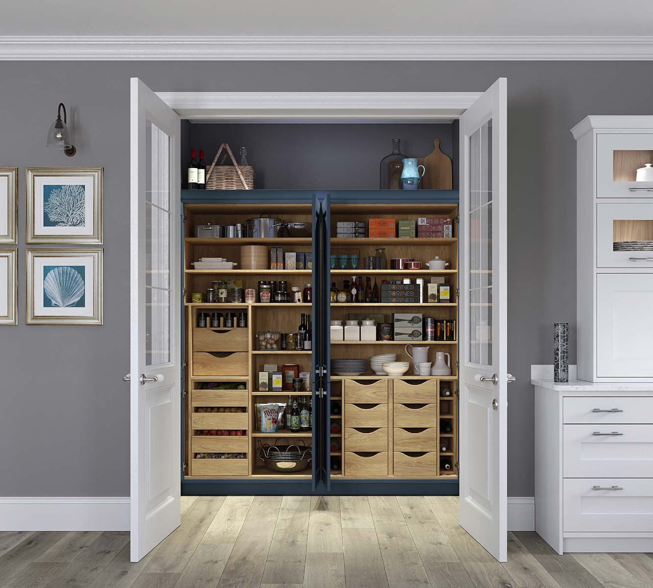 Masterclass kitchens Blackburn Ashbourne double Portland Oak pantry