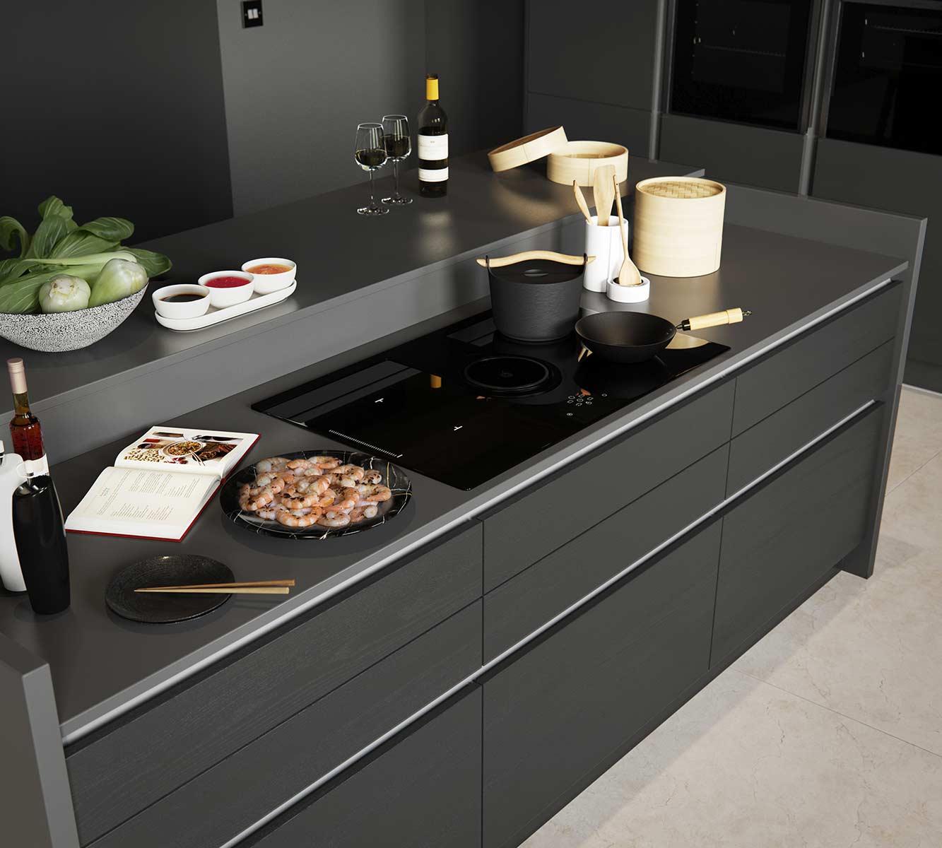 Masterclass kitchens Blackburn H line larna graphite cameo 1
