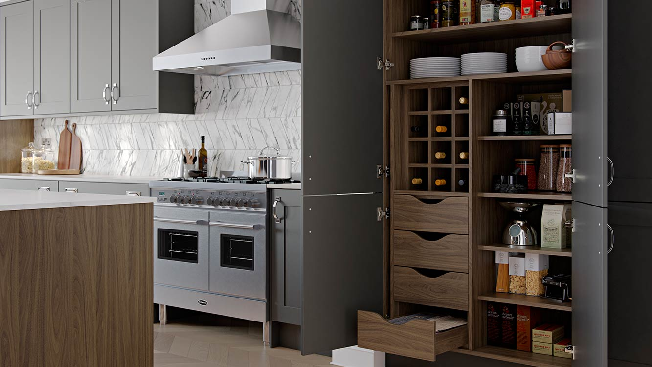 Masterclass-kitchens-blackburn-Chatsworth-Graphite-Pantry