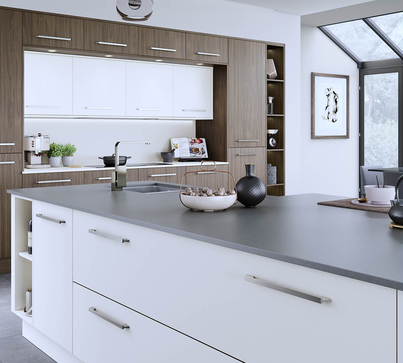 Masterclass kitchens blackburn Lumina White with Madoc Tuscan Walnut