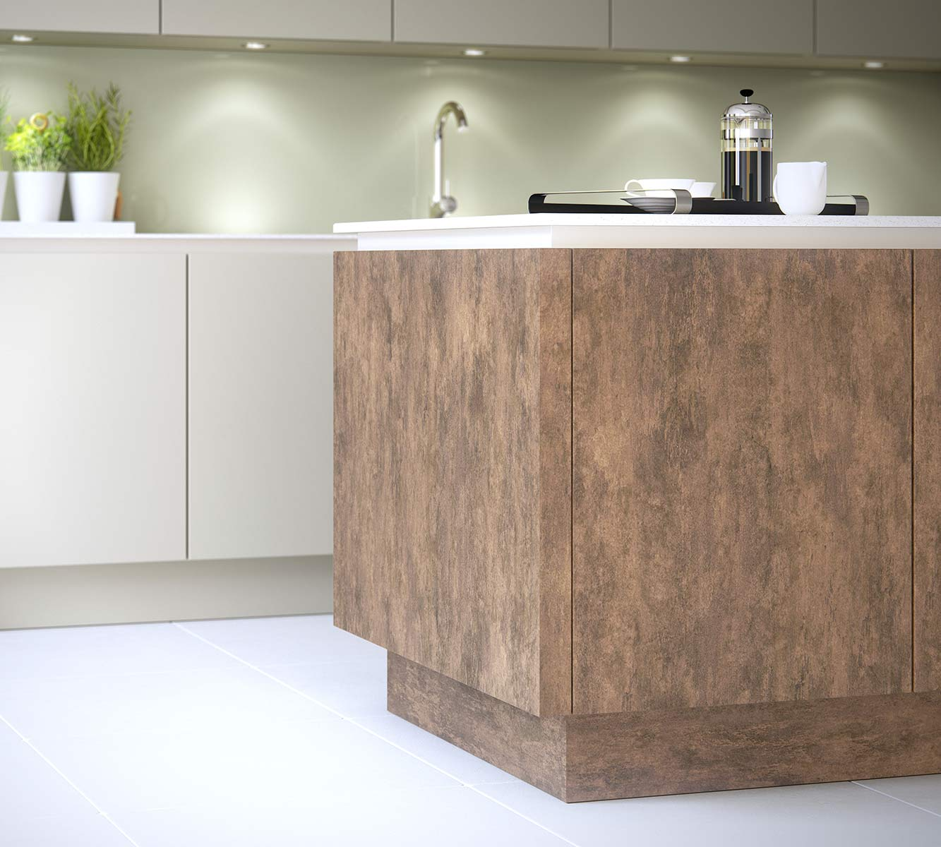 Masterclass Kitchens Blackburn H line hampton highland stone deco copper oxide1