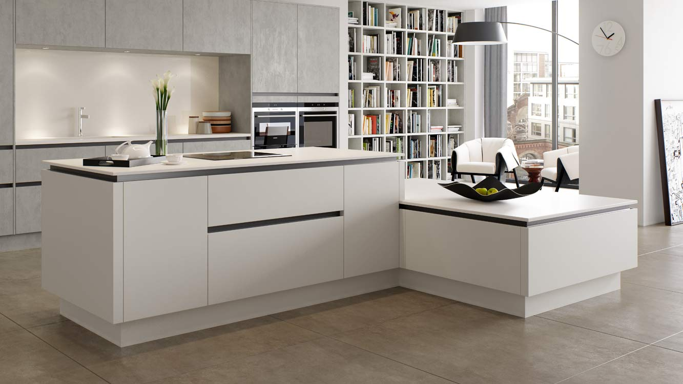 Masterclass Kitchens Blackburn H line hampton scots grey deco silver oxide